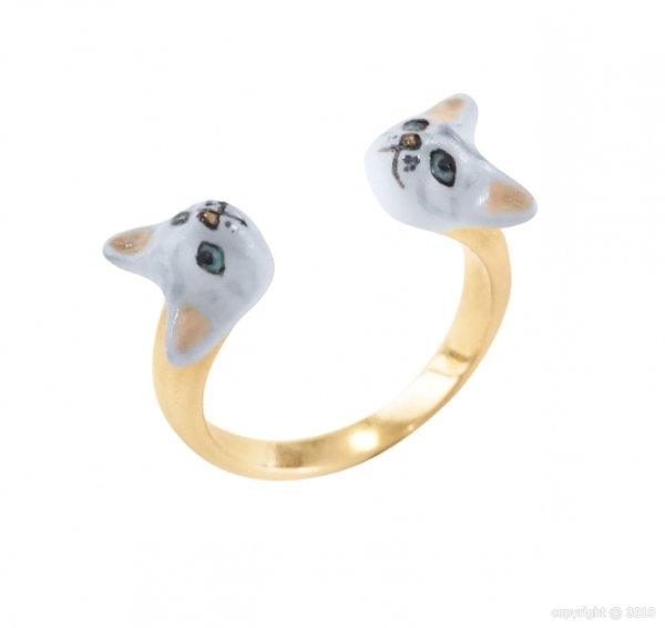 画像1: NACH Adjustable ring Grey Cat Face to Face (1)