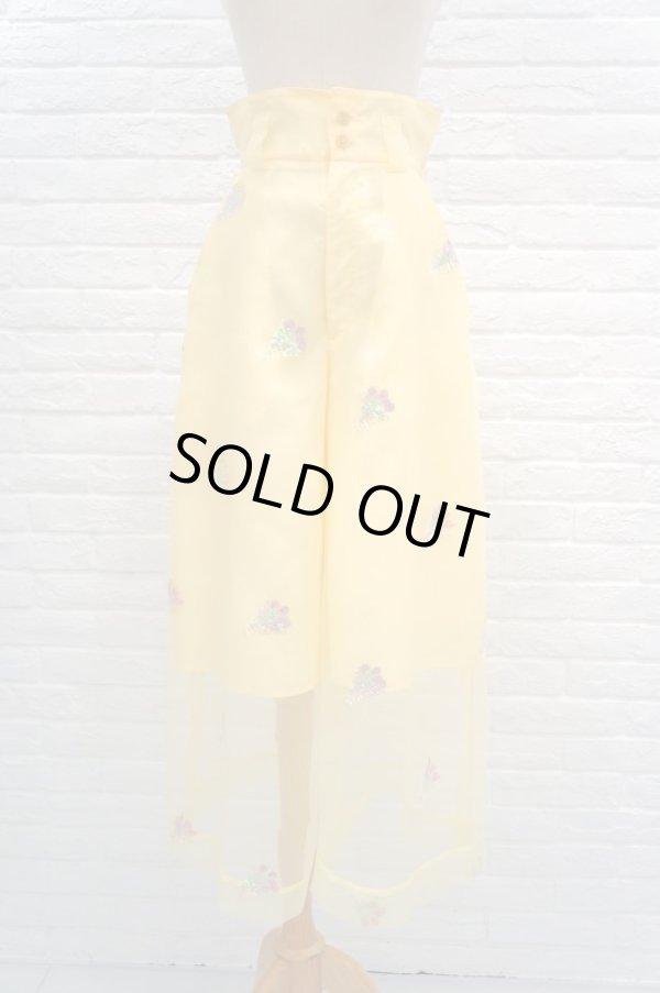 画像1: MIKIO SAKABE (ミキオサカベ) for you pants オーガンジー刺繍パンツ yellow (1)