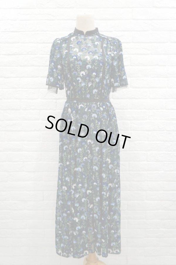 画像1: チュール刺繍ワンピース FLOWER EMBROIDERY DRESS blue (1)